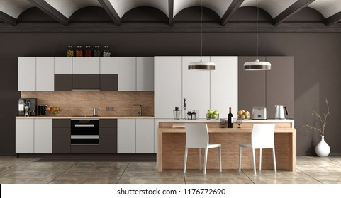 White and brown contemporary kitchen with arched ceiling and cement floor - 3d rendering