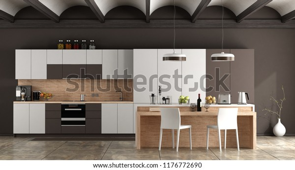 White Brown Contemporary Kitchen Arched Ceiling Stock ...