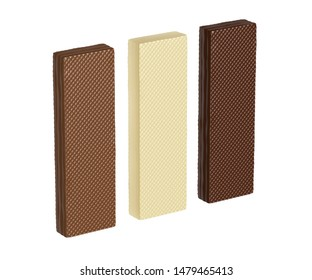 White, brown and dark chocolate wafers, isolated on white background. 3D illustration