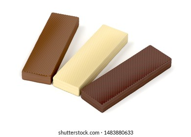 White, brown and dark chocolate wafers on white background, 3D illustration