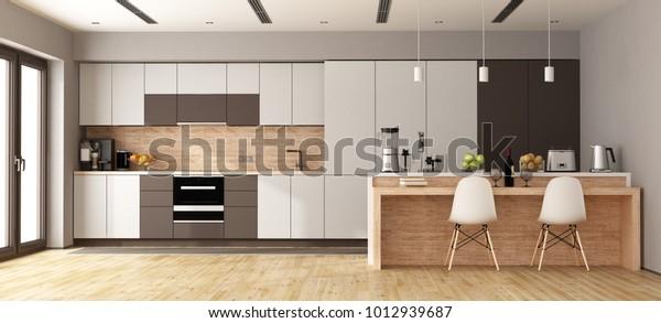 Illustrazione stock 1012939687 a tema Cucina moderna bianca ...