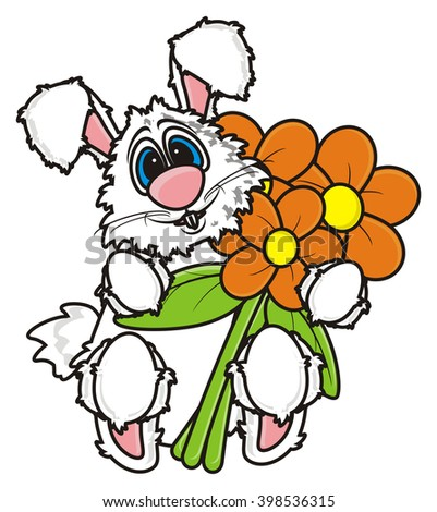 White Bunny Holding Bouquet Flowers Stock Illustration 398536315