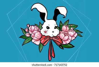A white bunny with pink peonies on blue background