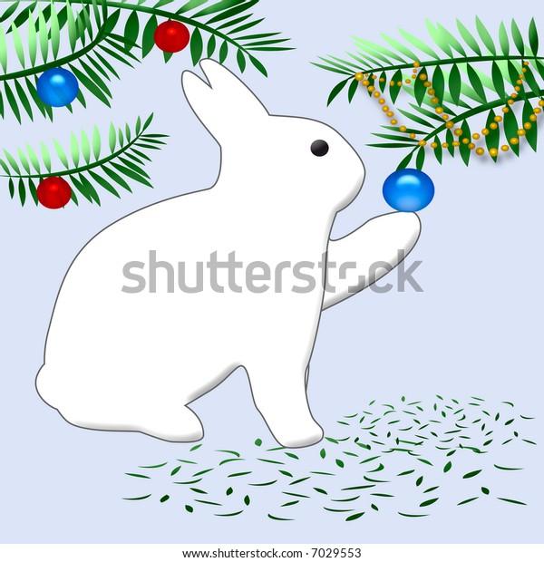 white bunny rabbit decorating a Christmas tree