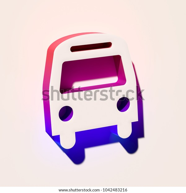 White Bus Icon. 3D Illustration of White Bus, Coach, Vehicle Icons With Pink and Blue Gradient Shadows.