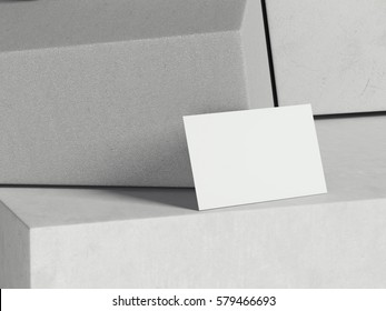 White business card on bright stone cubes. 3d rendering