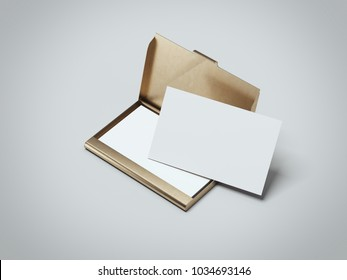 White business cards with golden holder isolated in gray background. 3d rendering