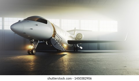 White business private jet airplane parked at aircraft hangar. Luxury tourism and business travel transportation concept. 3d rendering