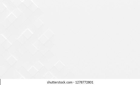 White Business Style Geometric Background with Copy Space (3D Illustration)
