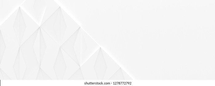 White Business Style Wide Background with Copy Space (3D Illustration)