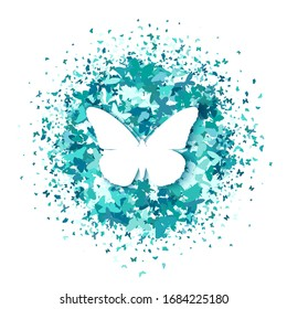 White butterfly on round of turquoise glitter confetti butterflies on white background. . Creative concept for wedding invitations, cards, tickets, congratulations, branding, logo, label.