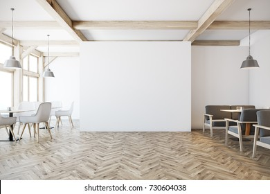 White cafe interior with tall windows, a wooden floor, gray sofas, square tables and white and wooden chairs. A blank wall. 3d rendering mock up