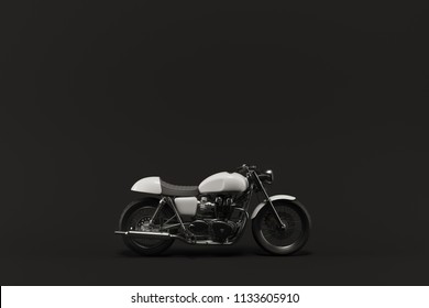 White caferacer motorcycle on black background. minimal 3D illustration