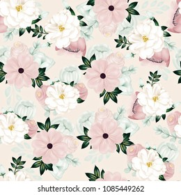 White Camelia Pink Flowers Vintage Floral Mint Flowers Girly Seamless Pattern Beige Background