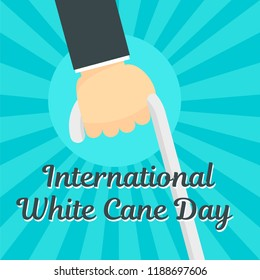 White cane day concept background. Flat illustration of white cane day concept background for web design