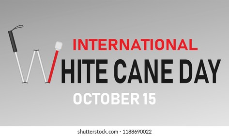 White cane day concept banner. Realistic illustration of white cane day concept banner for web design