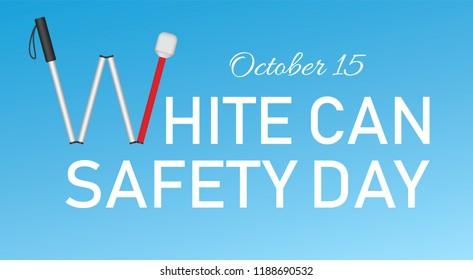 White cane october day concept banner. Realistic illustration of white cane october day concept banner for web design