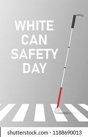 White cane safety day concept banner. Realistic illustration of white can safety day concept banner for web design