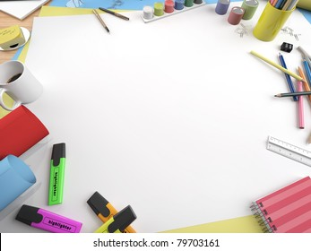 white canvas on a drawing table with lots of stationery objects making a center copy space for you text or design in a close up view