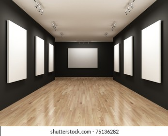white canvas on the walls of the gallery