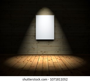 white Canvas with Spotlights and wood floor background - 3D Illustration
