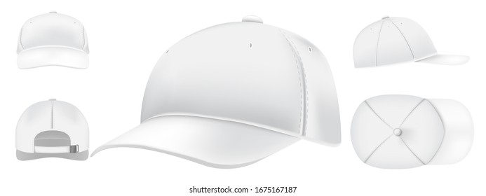 White cap mockup. Sport caps top view, baseball hat and uniform hats views realistic 3D  set. Casual clothing, fashion, informal style wear. Modern headwear front, top, side, back view pack