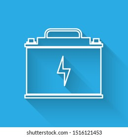 White Car battery icon isolated with long shadow. Accumulator battery energy power and electricity accumulator battery. Lightning bolt symbol