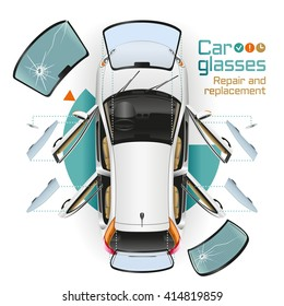In the white car with open doors at service station change front, back and side glasses, rear-view mirrors. The broken glasses lie nearby.