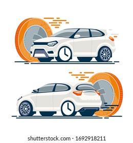 Weißes Auto eilte schnell in Richtung Geld. Schneller Verkauf, Vermietung, Autovermietung, Zahlung für den Transport.