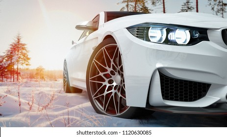 white car in the snow. 3d render and illustration.