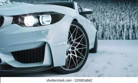 white car in the snow. 3d rendering and illustration.