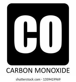 The white Carbon Monoxide symbol illustration on dark background