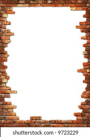 White card background with brick wall framing
