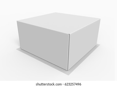 White Cardboard Box For Cake Or Pie. 3D Render