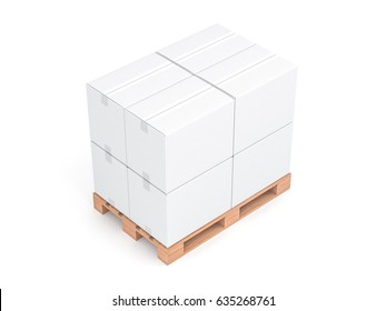 White cardboard boxes mockup on wooden euro pallet isolated on white background, 3d rendering