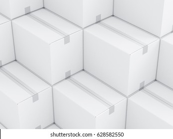 White Cardboard boxes packaging bckground, mockup, 3d rendering