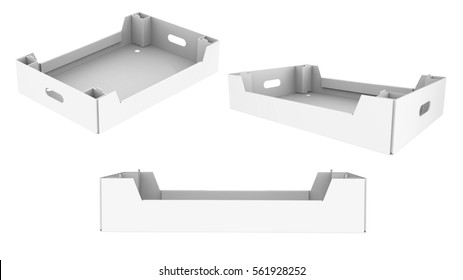 White cardboard brown box crate for vegetables, fruit, and things. isolated on white background.Mock Up Template Ready For Your Design