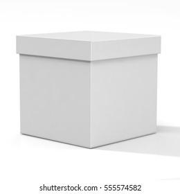 White Cardboard Cube Shaped Box, 3D Iluustration