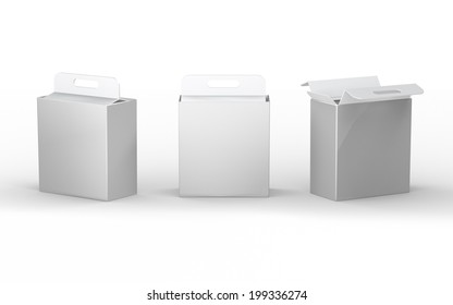 White cardboard  paper box packaging with handle, clipping path included. Mock up packaging for all kind of product, ready for your design