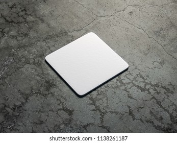 White cardboard square beer coaster Mockup on the concrete floor. 3d rendering