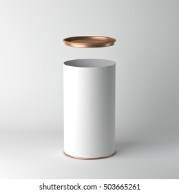 White cardboard Tin Can packaging Mockup with open metal copper lid. Tea, coffee, dry products, gift box. 3d rendering