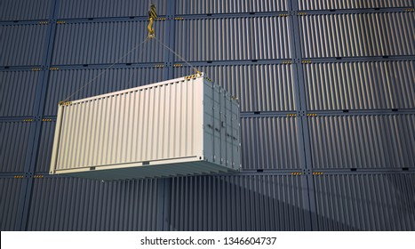 White cargo container at a loading crane. Stack of cargo containers in a docks. 3d illustration.