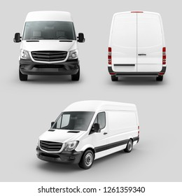 White Cargo Express Van Vehicle Front, back and perspective view. 3D rendering
