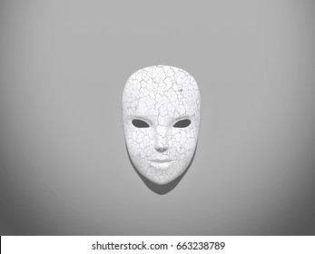 White carnival mask isolated on grey background, 3D rendering