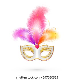 White carnival mask with pink and orange feathers