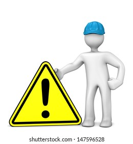 White cartoon character with blue helmet and warning triangle.