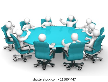 White cartoon characters behind a round conference table.