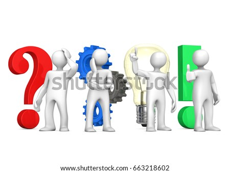 White Cartoon Characters Symbols Planning Concept Stock Illustration