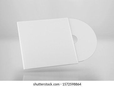 White CD-DVD Compact Disk with Cover Mockup, 3d Rendered on Light Gray Background