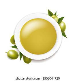 White Ceramic Bowl With Olive Oil And Twig With Green Olives On White background